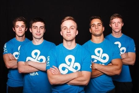 The famous C9 lineup that went to three strait international finals. Freakazoid is 2nd from right. Photo courtesy fantasy esports.